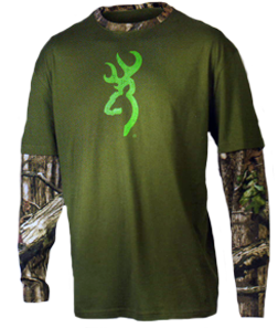 Mens Browning L/S Layered Camo Tshirt Moss w/Breakup Inf 2X