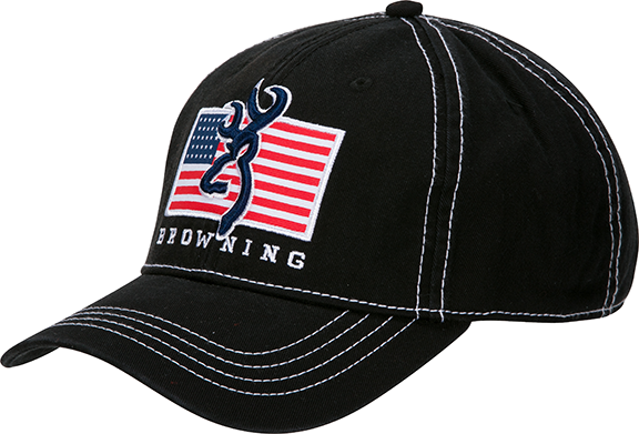 Browning Pride Cap Black w/USA Flag & Buckmark