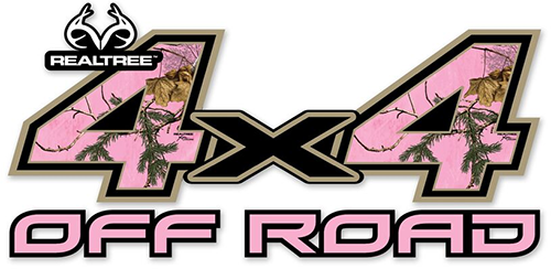 4x4 Off Road Contour-Cut Decal Realtree Xtra Pink