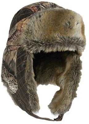 Mossy Oak Breakup Country Fleece Trapper Lined w/Fur Hat